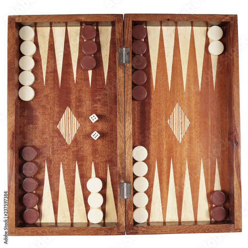 Obraz na plátne backgammon wooden tavli board game from greece