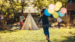 Leinwandbild Motiv Children playing together in backyard