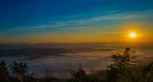 Sunrise And Mountain Mist At Doi Samer Dao Sri Nan National Park Thailand