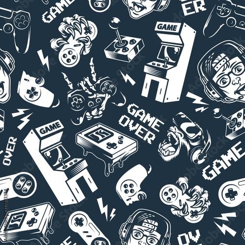 vintage-monochromatyczne-gry-wideo-wzor