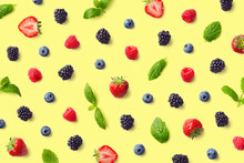 Colorful Fruit Pattern Of Berries And Mint Leaves