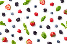 Fruit Pattern Of Colorful Berries And Mint Leaves