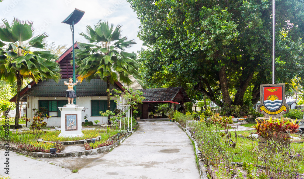 Fototapety, obrazy: President's residence, Government building with a monument, republic Coat of arms and Motto