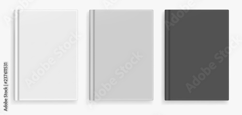 Fotografie, Obraz  Rectangular vector blank black, white and gray realistic book cover mockup, closed organizer or notebook cover template with sheet of A4