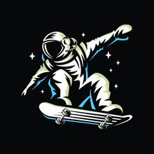 Astronaut Rides On Skateboard ...
