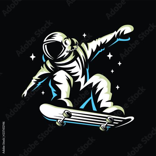 Fotografía astronaut rides on skateboard through the universe