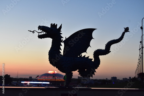Recess Fitting Military Sculpture of a dragon Zilant is a symbol of the Kazan city in the rays of the setting sun