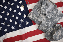 American Flag With Combat Uniform Dog Tags