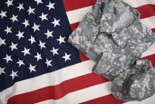 Combat Uniform On An American Flag