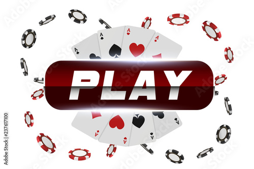 Photo  Playing cards and poker chips fly casino play button