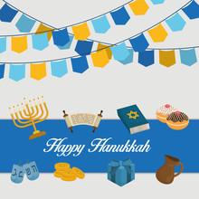 Happy Hanukkah Celebration Icons
