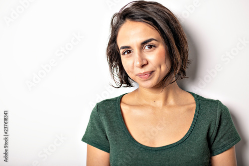Fotografie, Obraz  bright brunette girl isolated on a white background