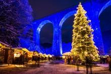 Snowy Christmas Market Under A...