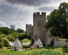 Tent Camp, Medieval Week, Medieval City Wall With Defensive Towers, Unesco World Heritage Site, Visby, Gotland Island, Sweden, Europe