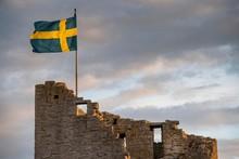 Swedish Flag On Medieval City ...