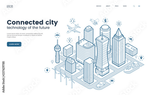 Smart city isometric thin line illustration. Intelligence buildings. Streets of the city connected to computer network. Urban infrastructure. Business center with skyscrapers. Vector eps 10.