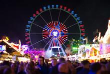 Ferris Wheel At Night With Blu...