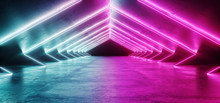 Abstract Shaped Sci Fi Futuristic Modern Vibrant Glowing Neon Purple Pink Blue Laser Tube Lights In Long Dark Empty Grunge Texture Concrete Tunnel Background 3D Rendering