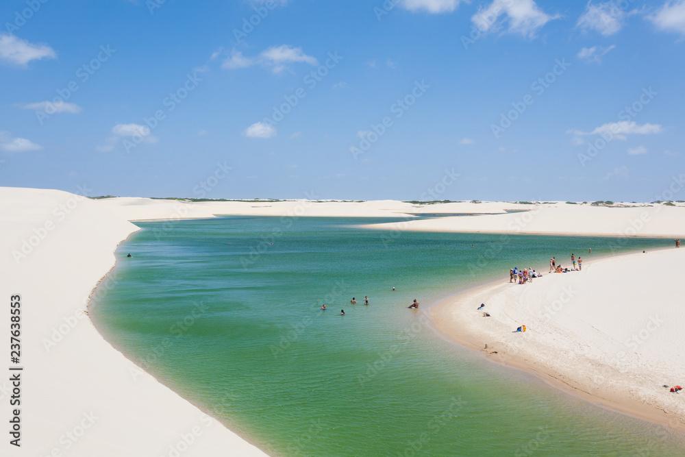 Fototapety, obrazy: White sand dunes panorama from Lencois Maranhenses National Park, Brazil.