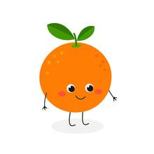 Vector Illustration Of Cute Cartoon Orange