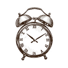 Vintage Alarm Clock. Time Concept. Sketch Vector Illustration