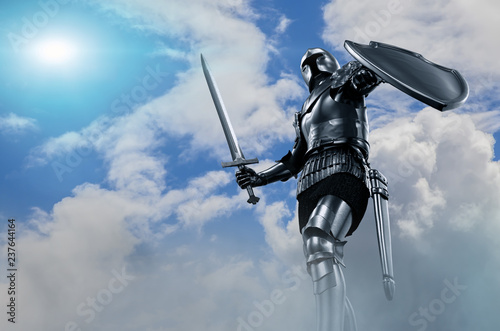 knight in armor with sword Fototapeta