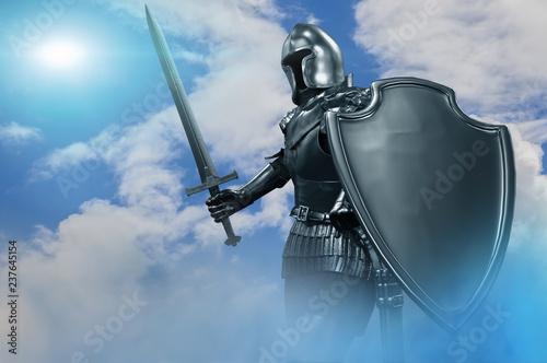 Fototapeta knight in armor with sword