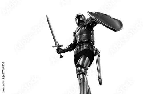Canvastavla knight in armor with sword on white background