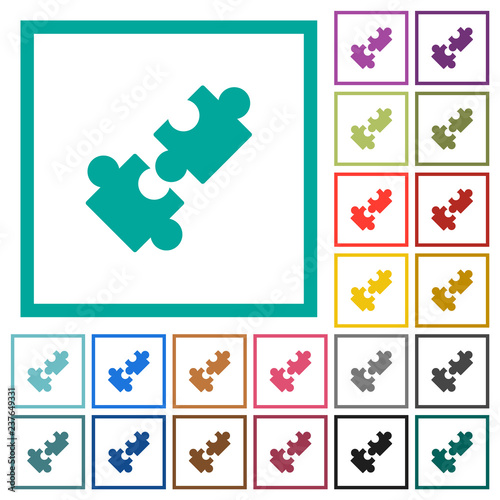 Cooperation flat color icons with quadrant frames Canvas Print