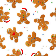 Vector Seamless Background With Realistic Christmas Gingerbread Mans, Decorated With Icing, On White Background