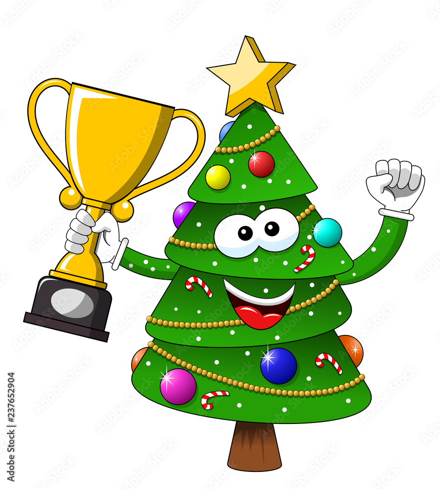 Fototapeta Happy Christmas or xmas character or mascot winner cup isolated on white