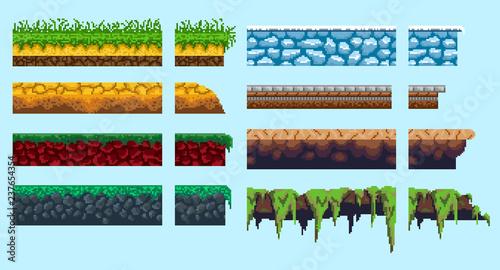 Stampa su Tela A set of basics for creating pixel seamless landscape