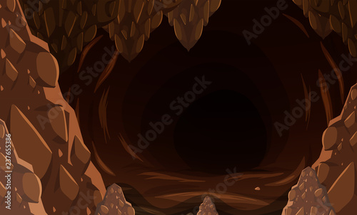A dark stone cave Wallpaper Mural