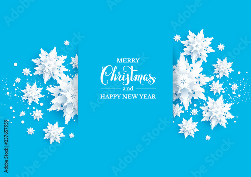 Fotobehang - Realistic shine Banner with place for text template. Paper cut snowflakes decoration background.