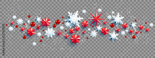 Fotobehang - Web Banner Social Media template. Winter decoration with snowflakes, stars and balls festive luxury background