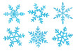 canvas print picture - Collection of six different watercolor snowflakes. Blue color and delicate shimmer effect. Hand drawn water color painting on white, cutout decorative clip art elements for decoration, design, prints.