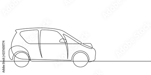 Photo Stands Cartoon cars Smart Car Continuous Vector Line Graphic