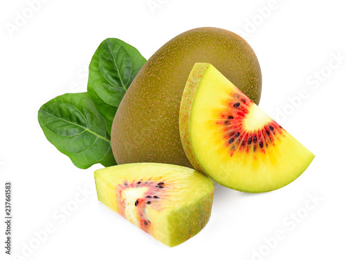 whole and slices red kiwi fruit with leaf isolated on white background