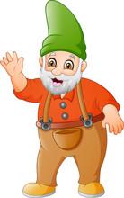 Cartoon Garden Gnome Waving