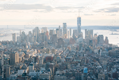 Deurstickers New York City View of the Financial District in Manhattan, New York City