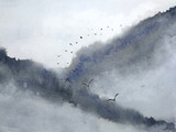 watercolor misty landscape mountain fog and birds flying in the sky. traditional oriental ink asia art style - 237666346