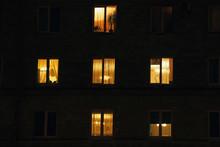 Lighted Night Windows Of Houses