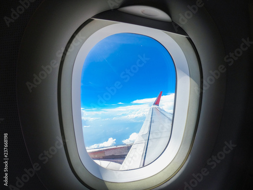 Beautiful sky view through the aircraft window