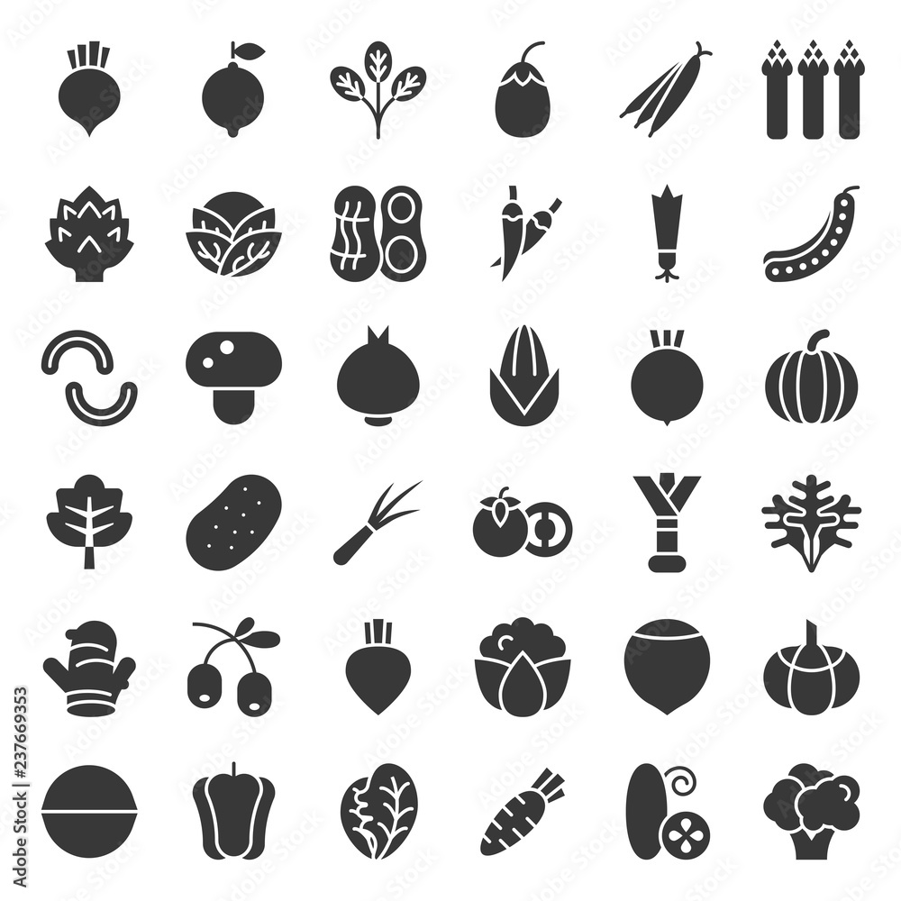 Fototapety, obrazy: Vegetable icon set, solid style vector illustration