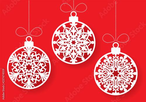 Christmas Cutout Patterns.Vector Snowflake Ball Laser Cut Template Cutout Pattern Of
