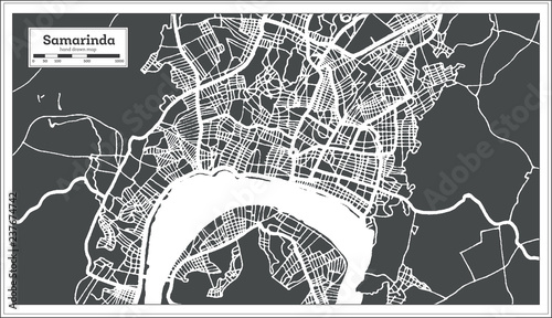 Samarinda Indonesia City Map in Retro Style. Outline Map. - Buy this ...