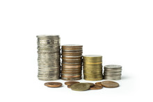 Thailand Money Baht Coins Isolate Step Staircase There Are Many Varieties. The Concept Of Saving Money And The Growth Of The Economy. On White Background And Clipping Path.