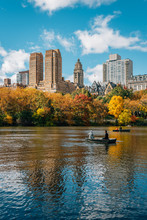Buildings In The Upper West Side And Autumn Color Along The Lake, In Manhattan, New York City