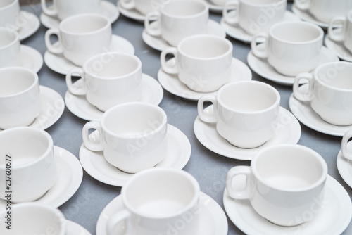 Empty coffee cups pattern restaurant buffet catering concept at corporate or community event