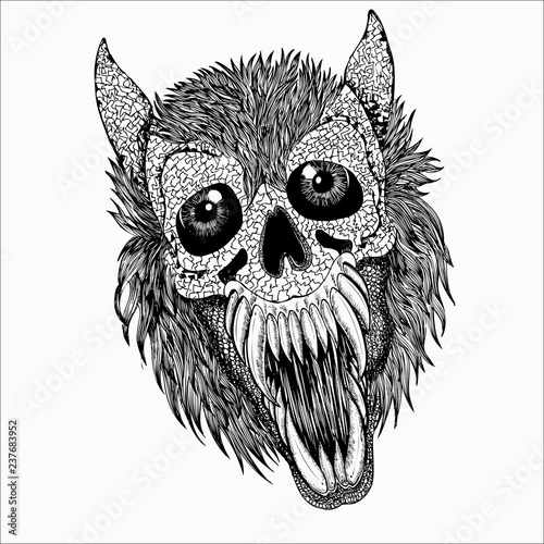 Canvas Prints Owls cartoon Skull Vector